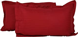 Clasiko 100% Cotton Maroon Pillow Covers; Design - Satin Stripes; Size - 17x27 Inches; Color Fastness Guarantee