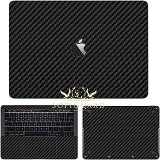 SopiGuard Black Carbon Fiber Full Body Vinyl Skin for Apple MacBook Pro 13 Touch Bar (A1706 / A1989)