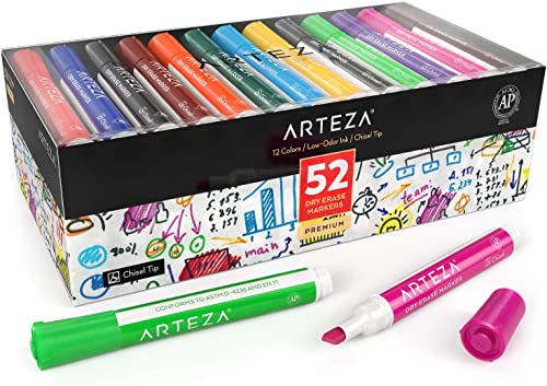 Arteza Dry Erase Markers, Bulk Pack of 52 (with Chisel Tip), 12 Assorted Colors with Low-Odor Ink, Whiteboard Pens, O...