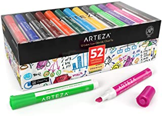 ARTEZA Dry Erase Markers, Bulk Pack of 52 (with Chisel Tip), 12 Assorted Colors with..