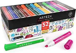 ARTEZA Dry Erase Markers, Bulk Pack of 52 (with Chisel Tip), 12 Assorted Colors with Low-Odor Ink, Whiteboard Pens are perfect for School, Office, or Home