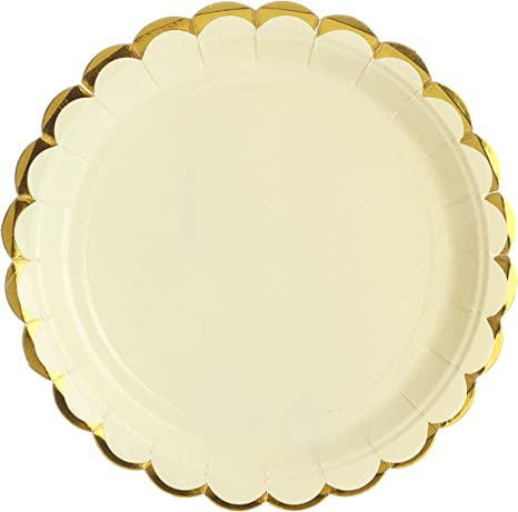 """8 x Marble Peach 7/"""" Paper Plates Ladies Birthday Party Tableware Supplies Gold"""