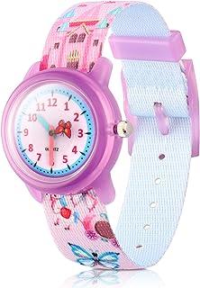 Kids Watches Cute Cartoon Waterproof Nylon Fabric Strap Children Toddler Wrist Watch Time Teacher Birthday Xmas 3-10 Year Boys Girls (Butterfly)
