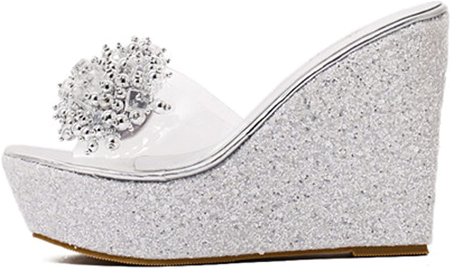 Jeff Tribble Fashion Rhinestone Wedges Sandals Women Sexy Trifle Slides Casual Beading Open Toe Sandals Plus Size