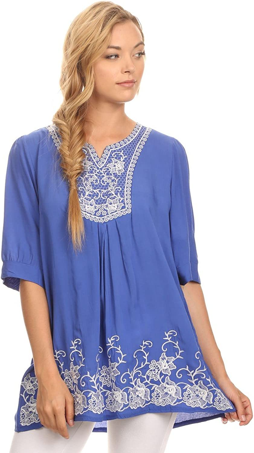 Universal Fashion Floral Embroidered VNeck Tunic Blouse with 3 4 Sleeves