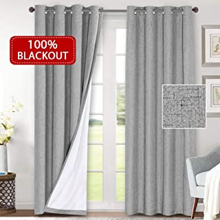 H.VERSAILTEX 100% Blackout Curtains for Bedroom Waterproof Thermal Insulated Curtains 2 Panels with White Liner Linen Textured Window Treatment Room Darkening Drapes(52 x 96 Inches, Dove Gray)