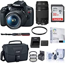 $462 » Canon EOS Rebel T7 DSLR Camera with EF-S 18-55mm and EF 75-300mm Lens Essential Bundle with Bag, Battery, Filter Kit, 32GB SD Card, Screen Protector, Cleaning Kit