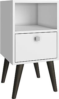 BRV MÓVEIS Side Table, White/Pinion Feet, 63 cm x 33 cm x 35 cm, BPP 01-129