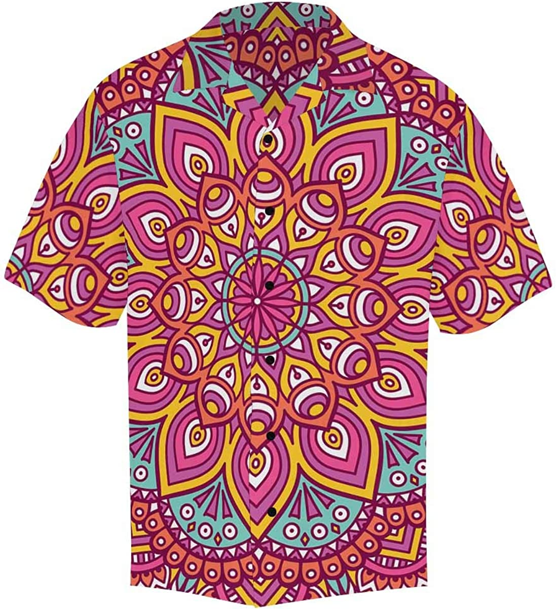 InterestPrint Men's Casual Button Down Short Sleeve Boho Mandala Floral Hawaiian Shirt (S-5XL)
