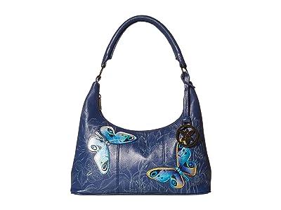 Anuschka Handbags Medium Top Zip Hobo 371 (Garden of Delights) Shoulder Handbags