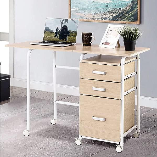 ShopForAllYou 书桌桌子办公室折叠电脑笔记本电脑桌轮式家用办公家具带 3 个抽屉新款