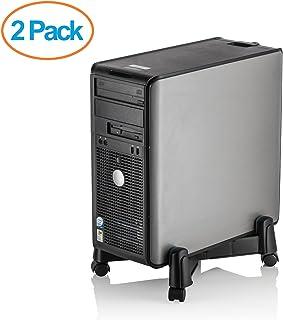 Halter LZ-401 Pc computadora Soporte Caddy Caja para Escritorio/Torre Casos con Anchura Ajustable y Ruedas 4 balanceo de Ruedas (2 Pack)