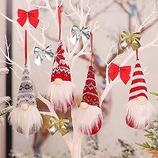 4 PCS Christmas Tree Hanging Gnomes Ornaments with 6PCS Xmas Bows Handmade Swedish Tomte Gnome Hat Plush Scandinavian Sant...