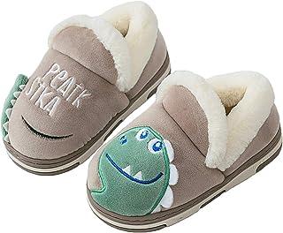 Zapatillas de Estar por Casa para Niñas Niños Invierno Antideslizantes Pantuflas Dinosaurio Caliente Peluche de Zapatilla ...