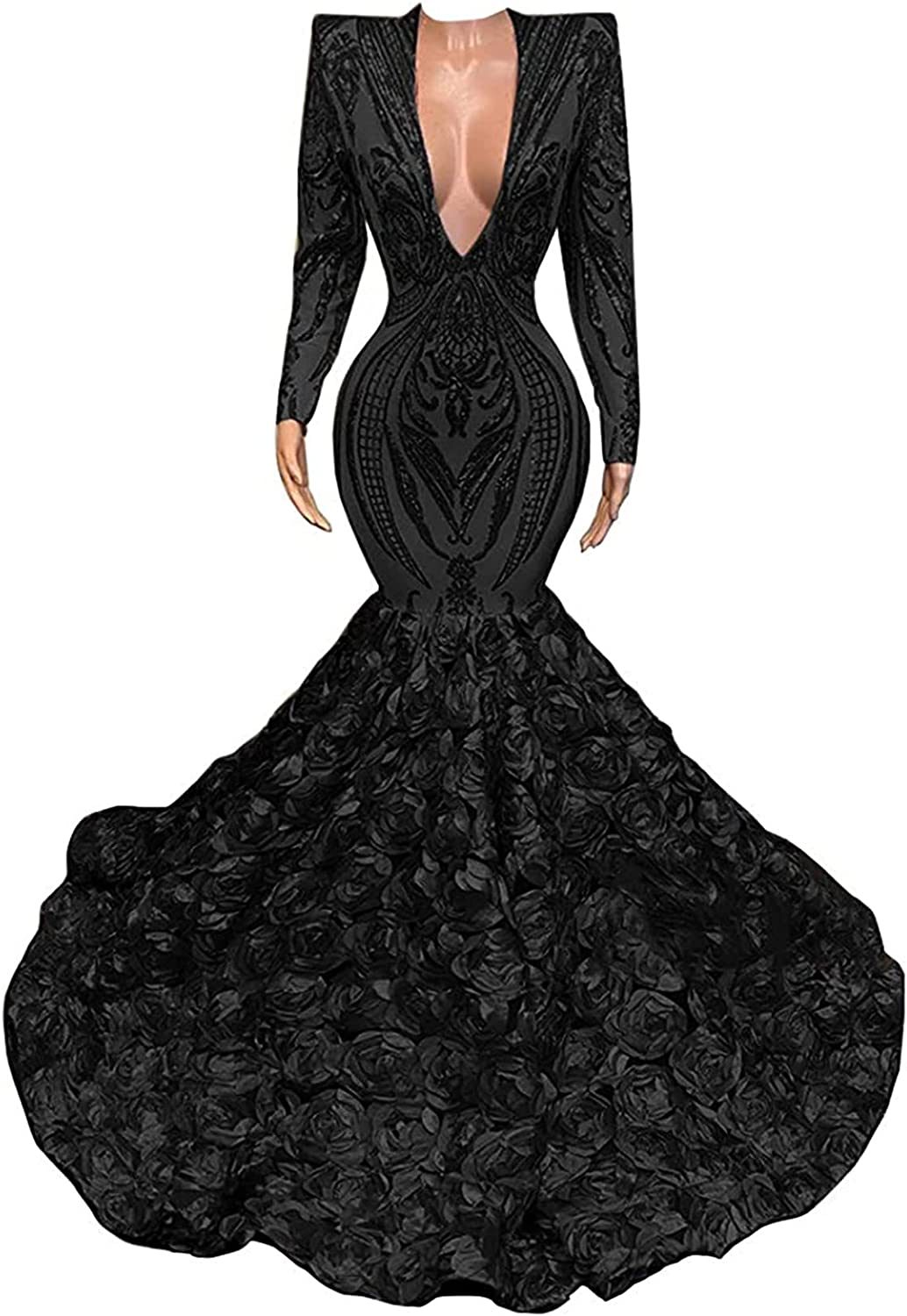 Women's V-Neck Mermaid Prom Dresses with Long Sleeves Lace Sequin Pageant Formal Ball Gown Party Dress