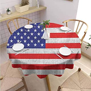 S-ANT Dinning Tabletop Decoration Round Tablecloth USA,Fourth of July Independence Day Burlap Looking Retro Vintage Country Pastel Color,Blue Red White Wedding Patio Dining Dorm D42