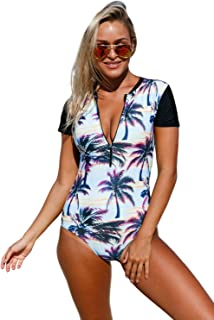 EVALESS Womens Beach Sunset Printed Zip Front Short Sleeve One Piece Swimsuit Bikinis X-Large