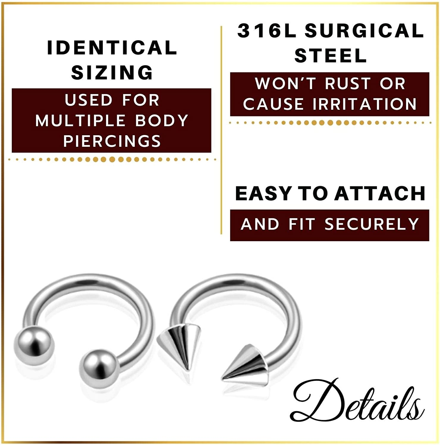 MATIGA 6Pcs Steel Black Rainbow Anodized 16g Barbell Horseshoe Piercing Jewelry Daith Lip Helix Cartilage 3mm Ball Cone More Choices