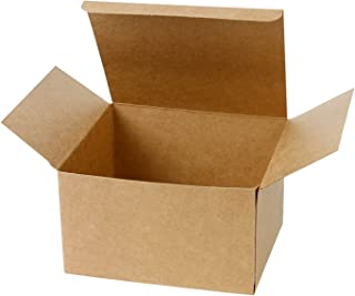 LaRibbons 20Pcs Recycled Gift Boxes - 5 x 5 x 3 inches Brown Paper Box Kraft Cardboard Boxes with Lids for Party, Wedding, Gift Wrap