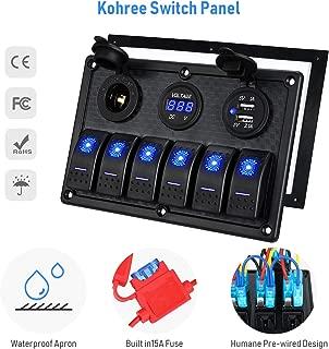 Kohree 6/8 Gang Rocker Switch Panel 12V Waterproof for RV Boat Car Vehicles Truck Marine Toggle Led Switch Panel Digital Voltmeter Display Dual USB Charger Port DC 12 Volt Socket 12/24V Blue Lighted