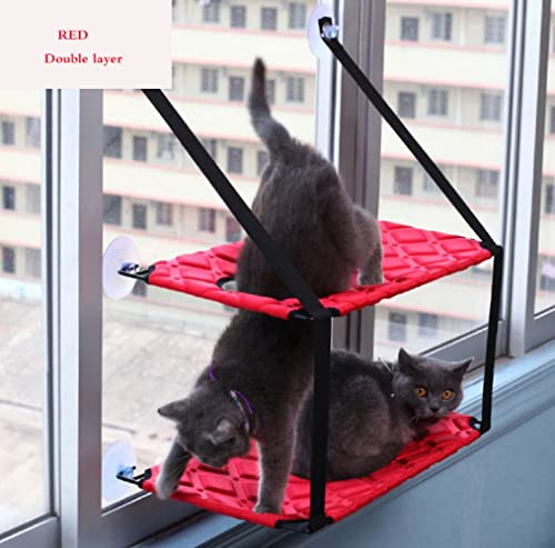 alta calidad YANJJ Suministros Para Mascotas Gato Hamaca Ventosa Ventana Colgante Colgante Colgante Ventosa Colgante Litera De Gato Cama Individual Cama Doble Para Mascotas,rojo-double  promocionales de incentivo