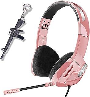 Audífonos de juego para niñas, mujeres, niños, para PC, PS4, Xbox One, auriculares plegables con micrófono desmontable, unidad de bocina estéreo de 30 mm, regalo para niños, adolescentes, jóvenes de SVYHUOK