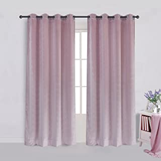 Super Soft Luxury Velvet Curtains Set of 2 Pink Flannel Blackout Drapes Grommet Draperies for Bedroom 52Wx84L inch (2 panels)with Tiebacks