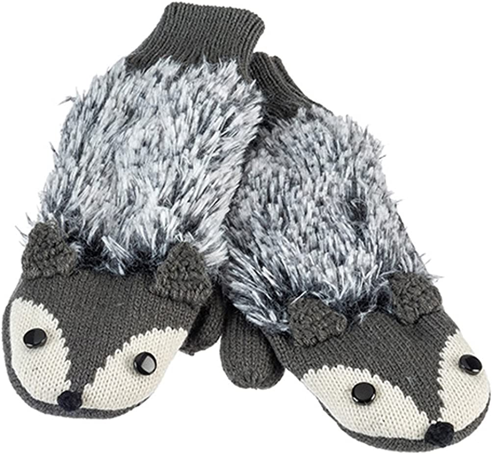 Black Fox Warm and Soft Knit Critter Mittens