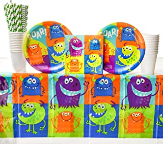 Fun Monsters Birthday Party Supplies Pack for 16 Guests | Straws, 16 Dinner Plates, 16 Luncheon Napkins, 16 Cups, and Table Cover | Celebrate Your Little Monster with our Monster Party Supplies