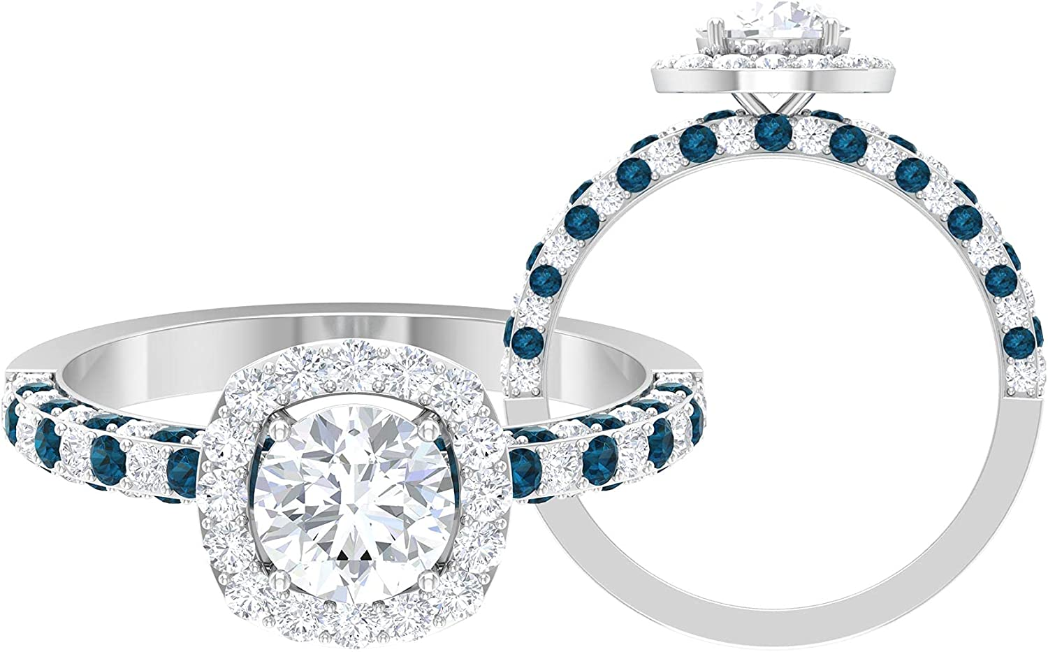 1.75 CT Solitaire Moissanite and London Blue Topaz Side Stone Engagement Ring (D-VSSI Quality),14K White Gold,London Blue Topaz,Size:US 9.00