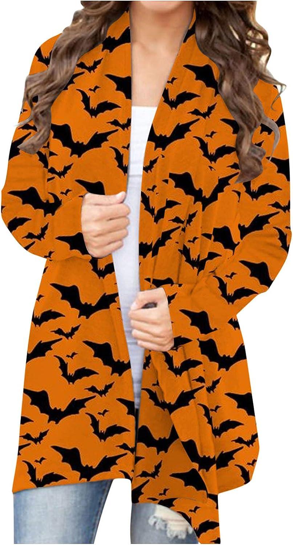 AODONG Women's Halloween Long Sleeve Open Front Cardigan Cute Funny Pumpkin Black Cat Ghost Lightweight Coat Plus Size