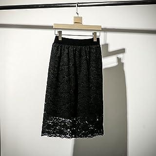 ZJMIYJ Kjolar för kvinnor – Spets blommig kjol hög midja stickad svart vändbar raka knälängd kjolar vår kvinnors eleganta ...