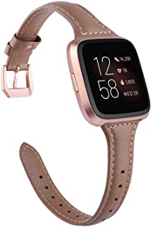 Leather Strap Compatible with Fitbit Versa/Versa 2 Bands for Women Men Slim Genuine Leather Wristbands Replacement for Versa Lite Edition/Versa SE Classic Accessorie Multi Colors