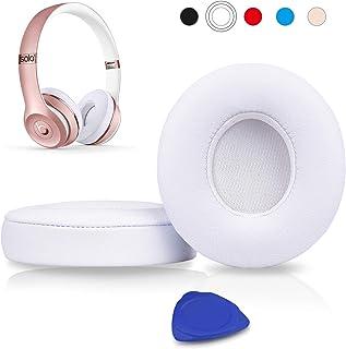 SoloWIT® Almohadillas de Repuesto para Auriculares Beats Solo 2/3 Wireless, con Cuero de proteína Suave/Espuma de Memoria de Aislamiento de Ruido/Cinta Adhesiva Fuerte