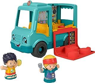 Fisher-Price Little People Serve It Up Food Truck, vehículo musical de juguete con figuras para niños pequeños y niños preescolares de 1 a 5 años