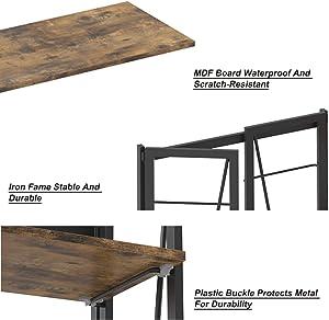 IRONCK Folding Bookcase, Industrial Bookshelf 4-Tiers Foldable Sackable Space-Saving Book Shelf for Living Room