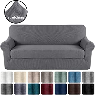 Stretch Sofa Cover 2 Piece Sofa Slipcover Couch Cover Furniture Protector with Elastic Bottom, High Spandex Textured Stretch Small Checks Jacquard Fabric Washable(Sofa 72-96, Charcoal Gray)
