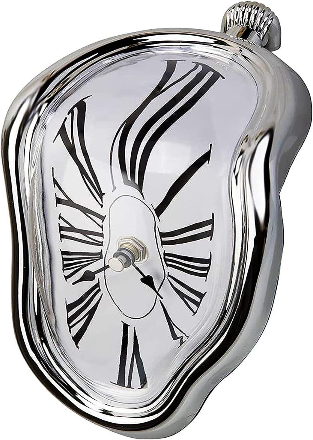AMYZ Reloj de Pared,Reloj de fusión,Relojes de Pared distorsionados de fusión surrealistas Estilo Salvador Dali,para decoración del hogar,Regalo Creativo Divertido,Plateado