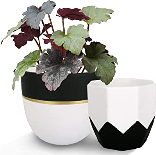 Ceramic Plant Flower Pots Indoor - 6.3 Inch Pack 2 Modern White Geometric Octagon & Round Orchid Cactus Herb Planter Pots ...