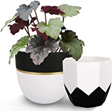 LA JOLIE MUSE Ceramic Plant Flower Pots Indoor – 6.3 Inch Pack 2 Modern White..