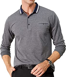 Womleys Mens Casual Slim Fit Long Sleeve Tops Collared T Shirt Polo Shirts