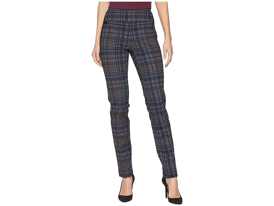 Vintage High Waisted Trousers, Sailor Pants, Jeans Lisette L Montreal Irish Plaid Print PDR Slim Pants Prussian Blue Womens Casual Pants $130.00 AT vintagedancer.com