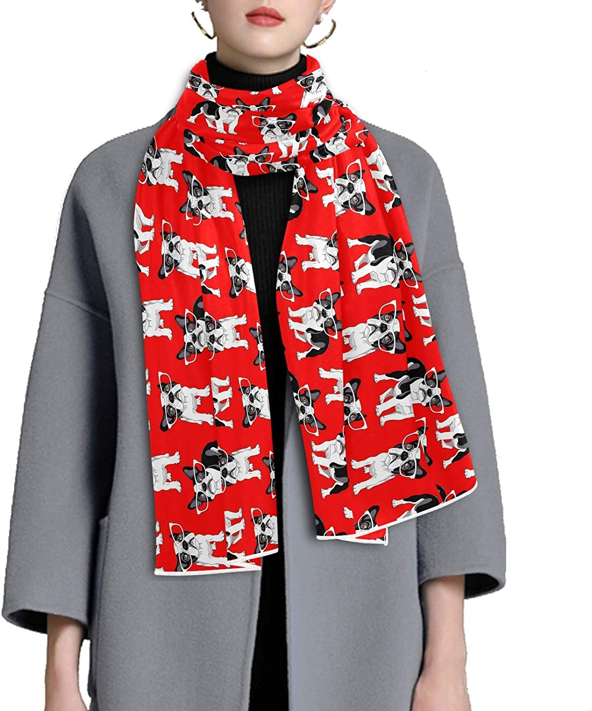 Scarf for Women and Men Cartoon French Bulldog Blanket Shawl Scarf wraps Warm soft Winter Oversized Scarves Lightweight