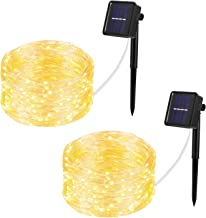 Wellgium Solar String Lights, 33ft 100LED Outdoor String Lights 8 Modes, Waterproof Decorative String Lights for Patio, Garden, Gate, Yard, Party, Wedding, Christmas (Warm White)-Pack of 2