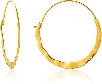 Ania Haie Sterling Silver Shiny Gold Plated Crush Hoop Earrings E017-07G