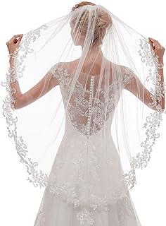 EllieHouse Women's Short Fingertip Length 1 Tier Lace Wedding Bridal Veil With Metal Comb L68