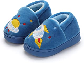 Greceen Boys Girls Warm Slippers Cartoon Car Kids Winter Indoor Household Shoes Non Slip Plush Slippers