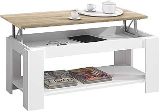 comprar comparacion Habitdesign Mesa de Centro con revistero Incorporado, 102x50x43/54 cm (Blanco Artik - Roble Canadian)