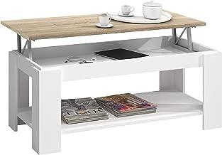 Habitdesign 0F1639A - Mesa de centro Ambit con revistero incorporado, 102 x 50 x 43 / 54 cm, blanco artik y roble canadian
