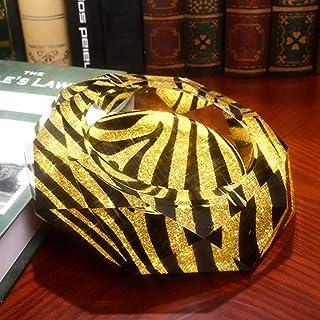 ZRL77y-Portable Ashtrays Ashtray Golden Zebra Pattern Octagon Bright Color Style Crystal Glass Ashtray Fashion Creative Pe...